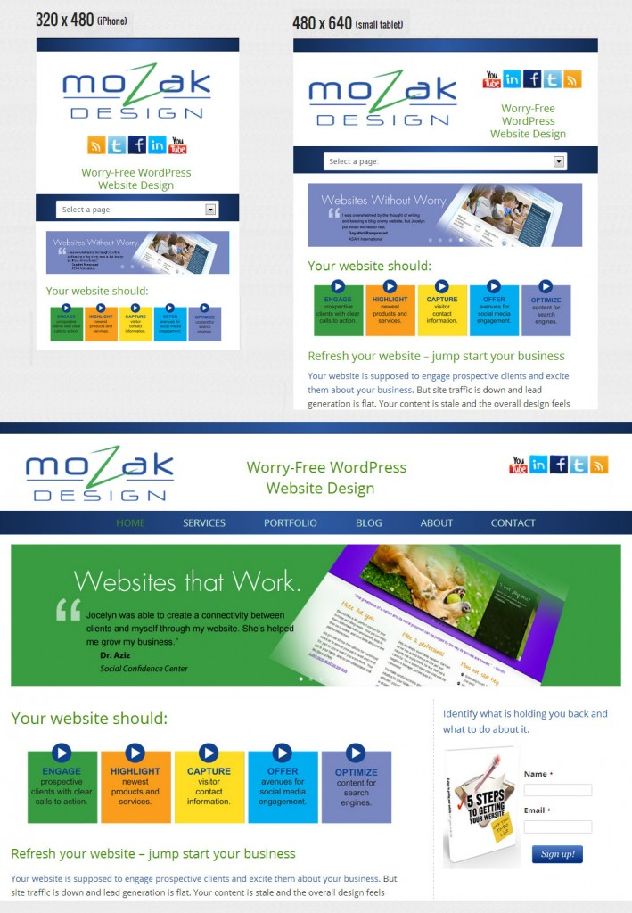 Is your WordPress website Mobile ready? website theme site screen Responsive Themes responsive page Mozak Design Mobile Plugins information content change business